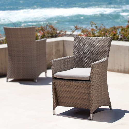 Woven All Weather Wicker Dining Armchair - Picture A