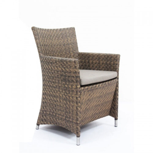 Woven All Weather Wicker Dining Armchair - Picture D