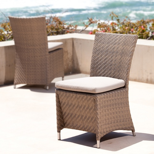 Woven All Weather Wicker Dining Side chair - Picture A
