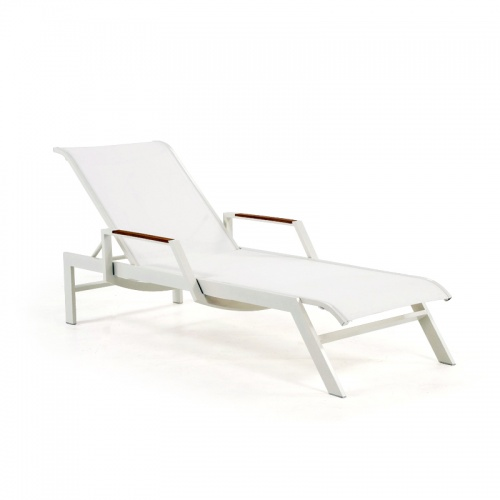 Jessie White Teak and Aluminum Chaise Lounge - Picture A