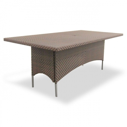 Woven Wicker Dining Table for 8 with Glass Top - Picture A