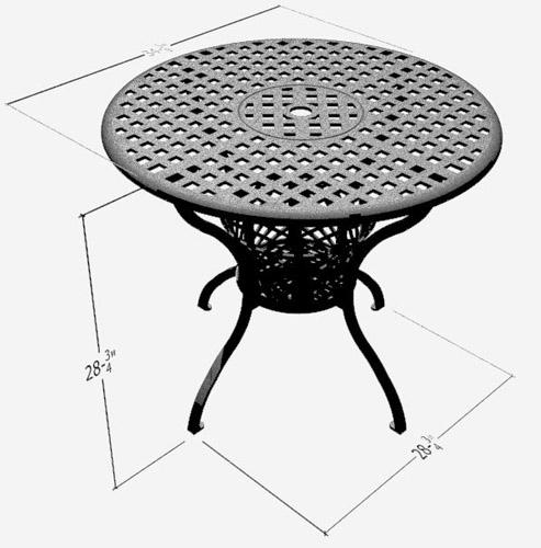 Diamond Aluminum Round Table - Picture D
