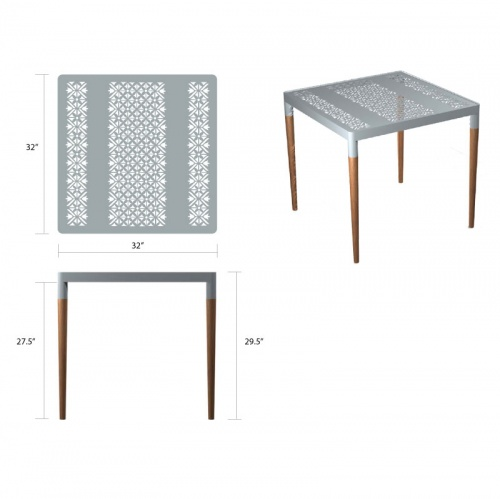 small aluminum and teak tables