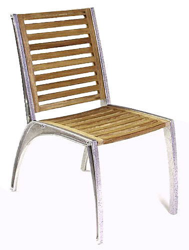 Teak Aluminum Dining Chair - Picture A
