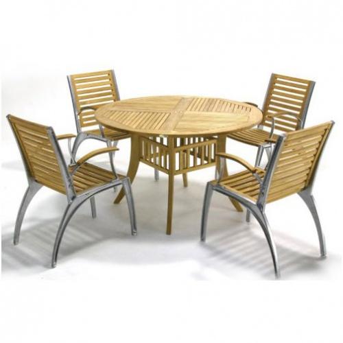 Teak Aluminum Armchair - Picture F