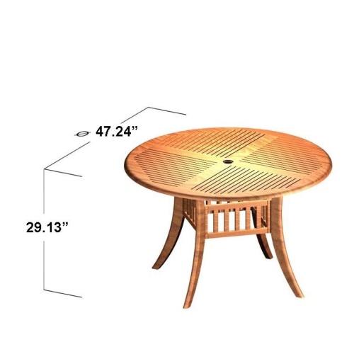 teak round dining tables