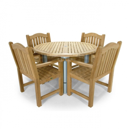 Gemini Teak Aluminum Round Table with Mayfair Teak Dining Chairs - Picture A