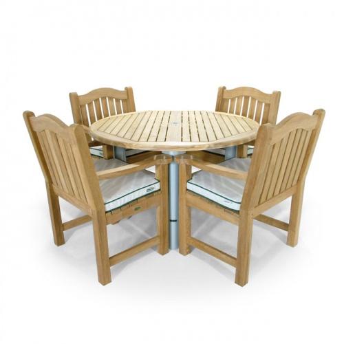 Teak Aluminum Round Table - Teak Wood Armchair - Picture B