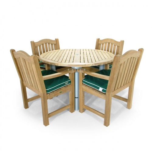 Gemini Teak Aluminum Round Table with Mayfair Teak Dining Chairs - Picture C