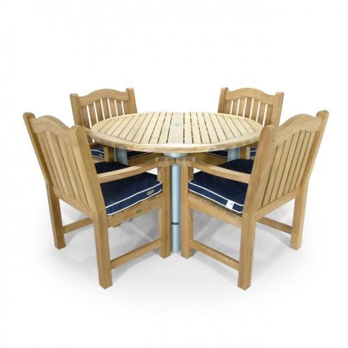 Teak Aluminum Round Table - Teak Wood Armchair - Picture D