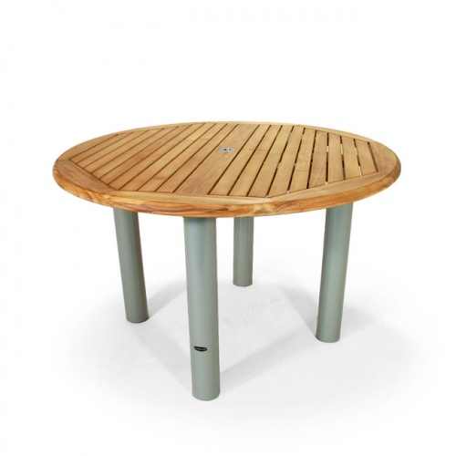 Gemini Teak Aluminum Round Table with Mayfair Teak Dining Chairs - Picture E