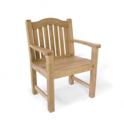 Teak Aluminum Round Table - Teak Wood Armchair - Picture F