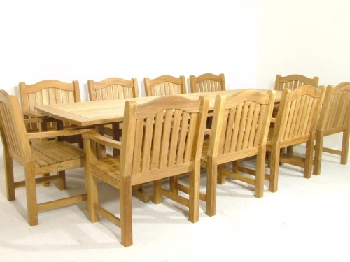 Teak Rectangular Table - Teak Armchair Set - Picture D