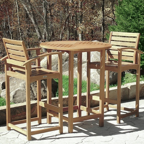 teak bar stools and table