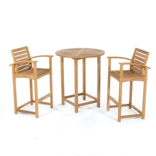 teak bar stools and table