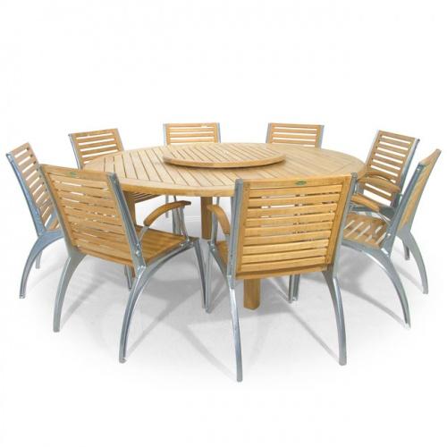 Teak 6 ft Round Table - Teak Folding Chair Set - Picture A