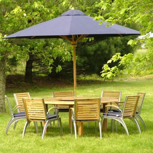 Teak 6 ft Round Table - Teak Folding Chair Set - Picture B