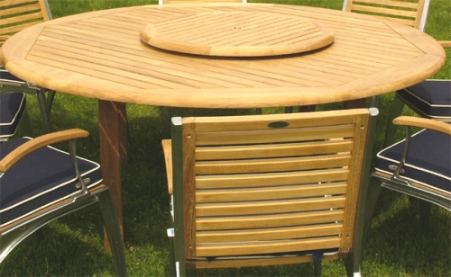 Teak 6 ft Round Table - Teak Folding Chair Set - Picture C