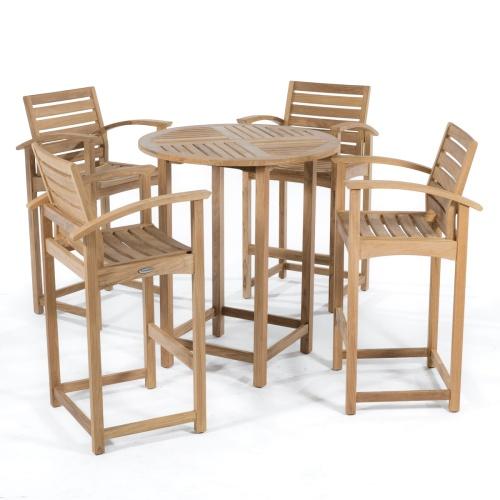 teak bar height table outdoor