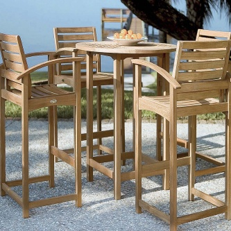 Somerset 5 pc Teak Bar Table Set