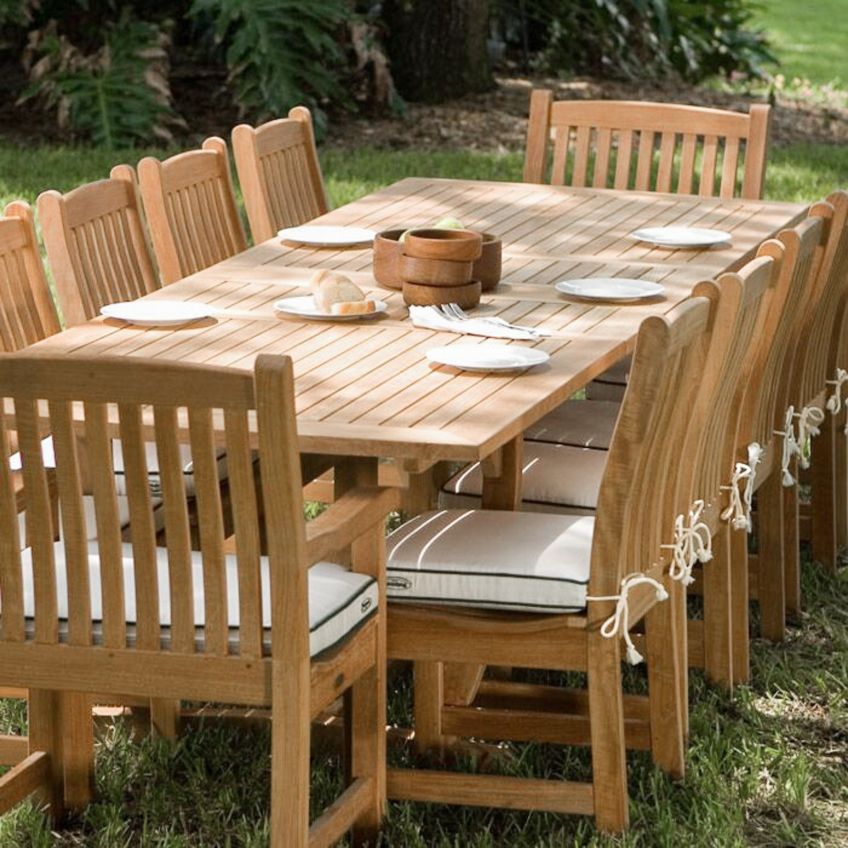 Veranda 12 person dining table teak furniture set for 12 seater wooden table
