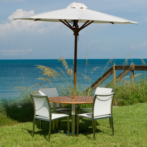 Gemini Stainless Steel Teak Dining Set - Picture A