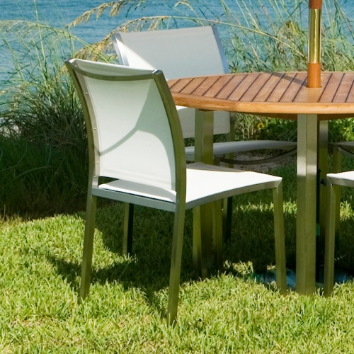 Gemini Stainless Steel Teak Dining Set - Picture B