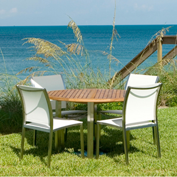 Gemini Stainless Steel Teak Dining Set - Picture C