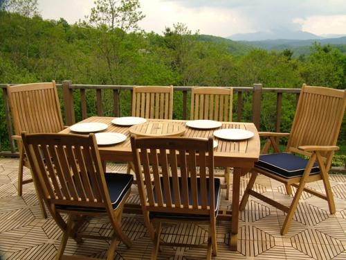 Cayman Extension Table Teak Patio Set - Picture A