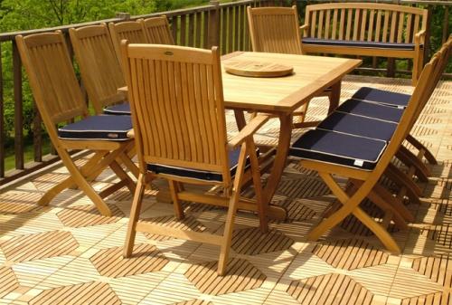 Cayman Extension Table Teak Patio Set - Picture B