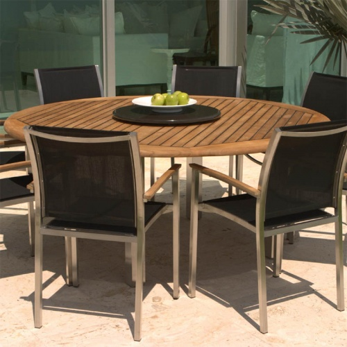 Teak Stainless Steel Gemini  Dining Set - Picture B
