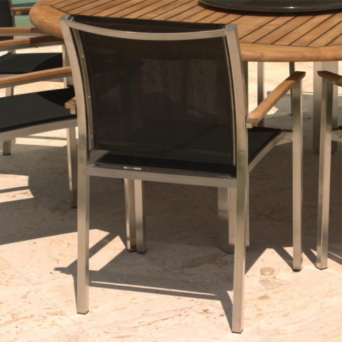 Teak Stainless Steel Gemini  Dining Set - Picture C