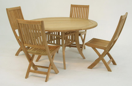 Grand Hyatt 4ft Dia Round Teak Dining Set - Picture A