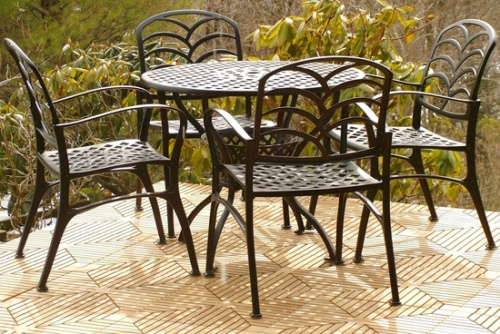Diamond Grass Aluminum Dining Set - Picture F