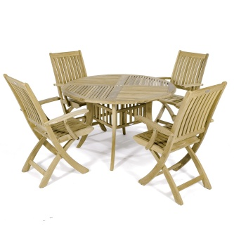5pc Hyatt-Barbuda Teak Patio Dining Set