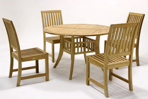 Grand Hyatt 4 foot Round Teak Patio Set - Picture A