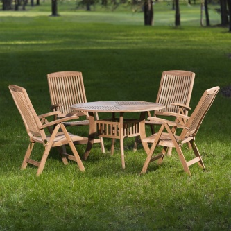 5 pc Hyatt Recliner Teak Patio Dining Set