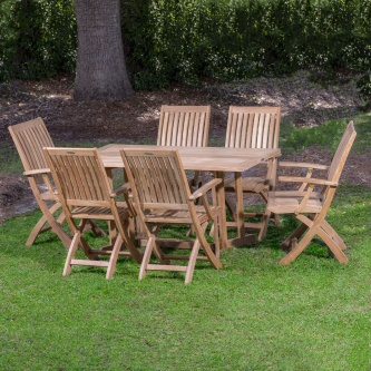 7pc Nevis Barbuda Armchair Teak Set