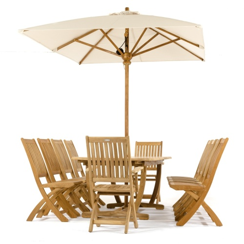 11 pc Montserrat Barbuda Teak Dining Set - Picture M