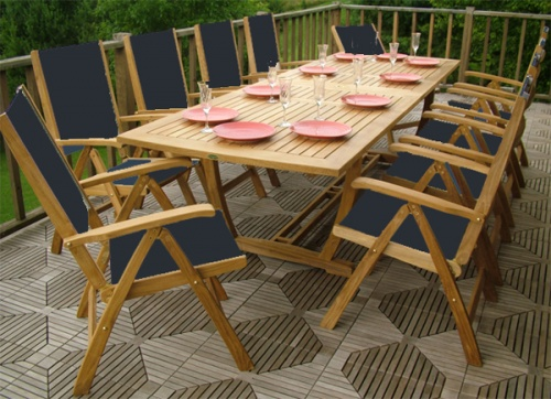 Grand Sunbrella Recliner Teak Dining Set - Picture A