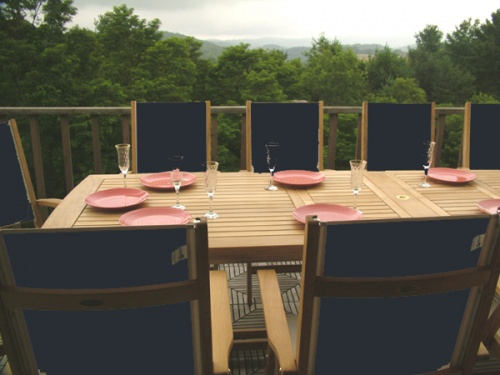 Grand Sunbrella Recliner Teak Dining Set - Picture B