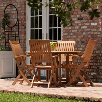 5 pc Barbuda Round Folding Dining Set