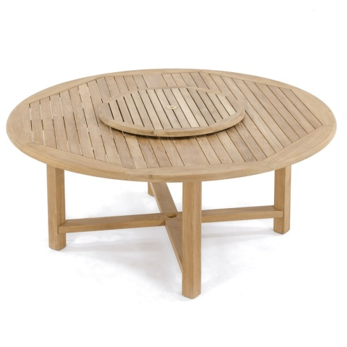 round teak table and benches