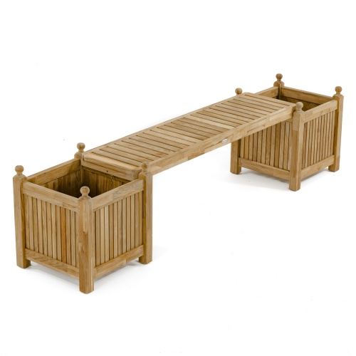 Teak Planter Bench Set - Picture C