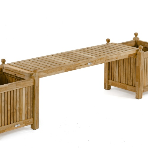 Teak Planter Bench Set - Picture D