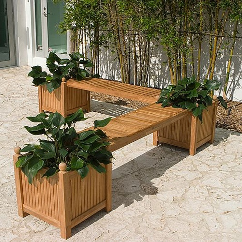 teak planter benches
