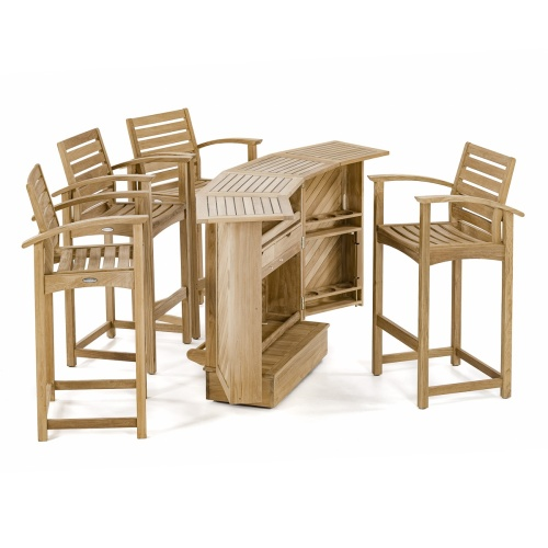 bar height teak patio furniture