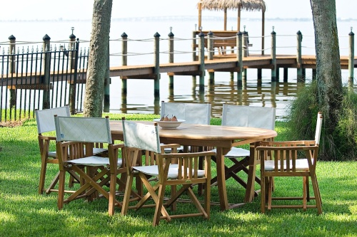 7 pc Martinique Oval Director Chair Dining Set - Picture C