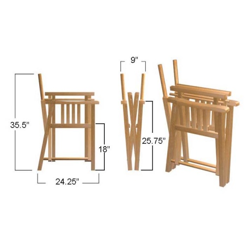 7 pc Martinique Oval Director Chair Dining Set - Picture K