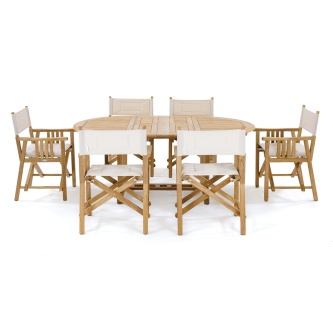 7pc Oval Director Chair Dining Set